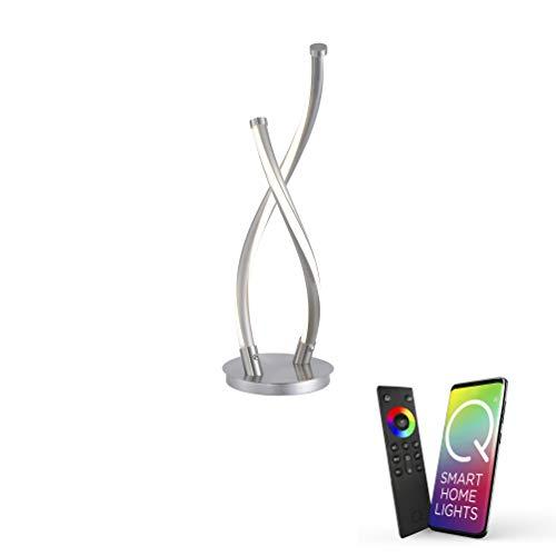 Paul Neuhaus, Q-Malina, LED Tischlampe, 2-flammig, Alexa-fähig, Smart Home, Tischleuchte, dimmbar mit Fernbedienung, Farbtemperatur einstellbar, warmweiss - kaltweiss, modern