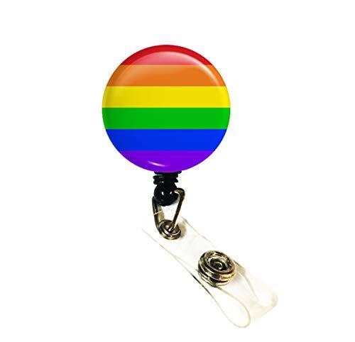 Wigspedia Retractable Name Tag ID Badge Holder Reel/ID Badge Holder - LGBT Rainbow (Rainbow, Alligator Clip)