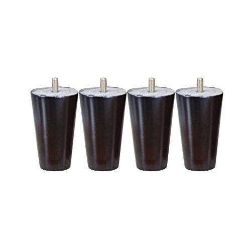 4 x Massivholz Tisch Füße Reparatur Teil für Küchenschrank-Sofa-Betten-Stuhl - Schwarz, 4 * 6 * 10cm