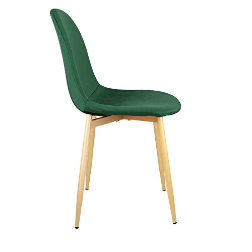 Set of 4 Mid Century Modern Side Dining Chairs for Kitchen Velvet Upholstered Dining Chair with Metal Legs (Dark Green)