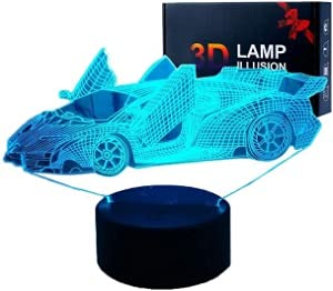 ANVRIL ELF Racing Car 3D Night Light Illusion Lamp, Sports car Night Light with Remote Control Touch 16 Color Changing Desk Lamps Kids Room Decor Best Festival Birthday Gifts for Toddlers Boys Child