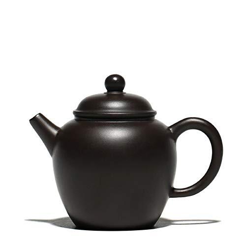 XueQing Pan Pao Statue Teekanne Erz schwarzer Schlamm kleine Teekanne (Color : Black)