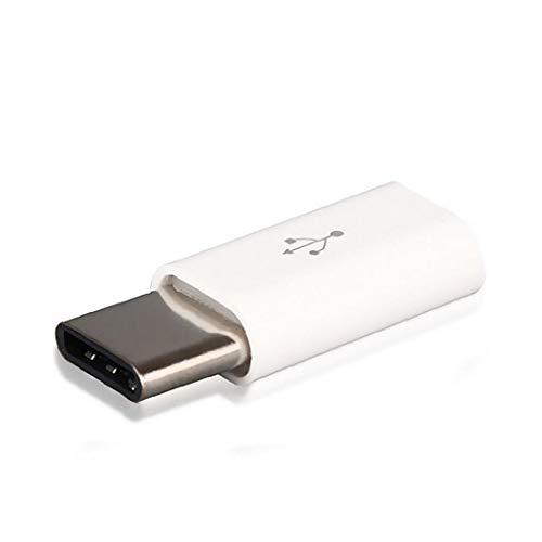 Rrunzfon 5 x Mini USB Micro al Adaptador OTG 3.1A Tipo C a Micro USB Cable convertidor USB 3.1 Adaptador C para MacBook Samsung s8 Huawei P10 P9 Adaptador OTG Accesorios (Blanco) de Ordenador