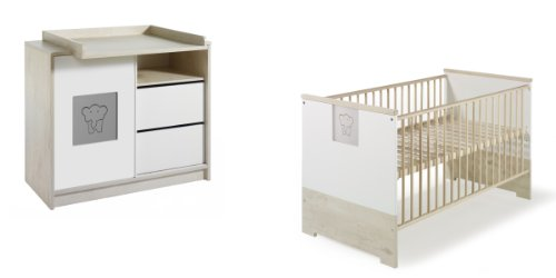 Schardt 10 570 97 02 Sparset Eco Slide bestehend aus Kombi-Kinderbett, Umbauseiten, Wickelkommode mit Wickelaufsatz
