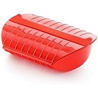 Lékué - Estuche de vapor con bandeja, 3-4 personas, color rojo