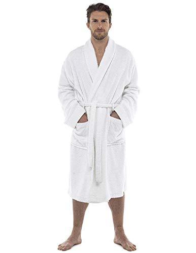 CityComfort Bata de baño para hombres Bata de algodón 100% Terry Albornoz Albornoz Baño ideal para gimnasio Ducha Spa Hotel Bata Tamaño de vacaciones M / L, L / XL, 2XL, 3XL y 4XL (XXL, Blanco)