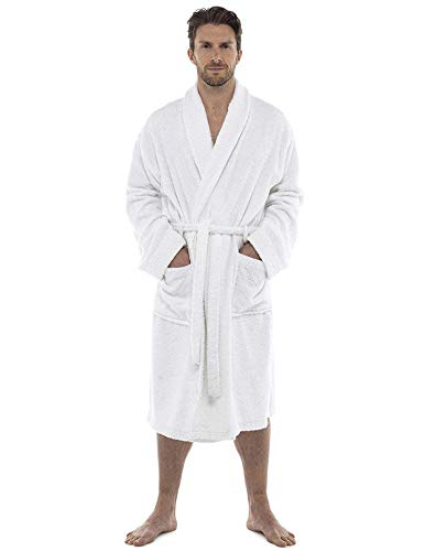 Men Towelling Robe 100% Cotton Terry Towel Bathrobe Dressing Gown Bath Perfect for Gym Shower Spa Hotel Robe Holiday White XXL