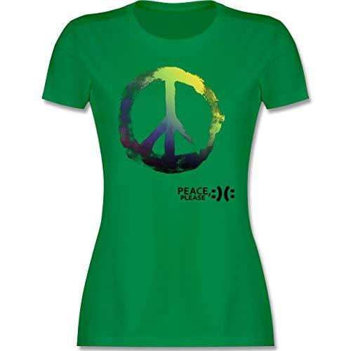 Statement - Frieden, Bitte - Peace, Please - Peacesymbol bunt - L - Grün - Please Tshirt - L191 - Tailliertes Tshirt für Damen und Frauen T-Shirt
