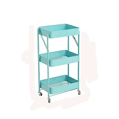 Rolling Trolley Trolley Shelf Floor Multi-layer Kitchen Trolley With Wheels (Color : Blue without armrests)