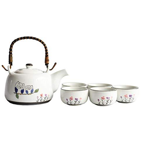 Hokaime Juego de té de Tetera de cerámica con búho y Tetera de cerámica con Filtro de Acero Inoxidable, Mango Antideslizante Decorativo de ratán, Adecuado para té de Hojas Sueltas, Juego de 6 Piezas