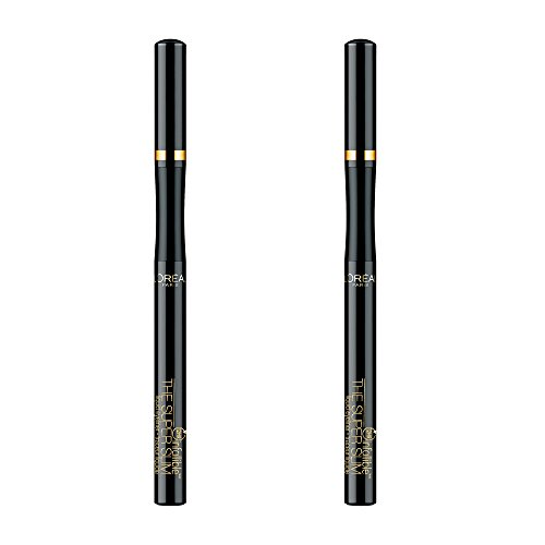 L'Oreal Paris Makeup Infallible Super Slim Long-Lasting Liquid Eyeliner, Ultra-Fine Felt Tip, Quick Drying Formula, Glides on Smoothly, Black, Pack of 2