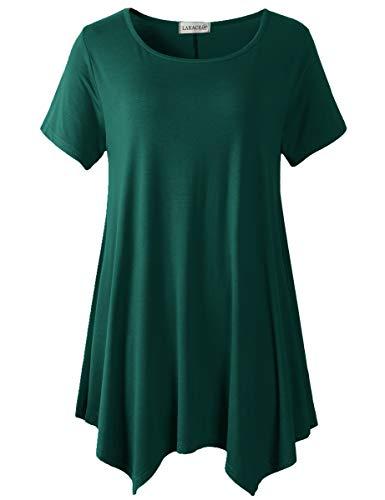 LARACE Womens Swing Tunic Tops Loose Fit Comfy Flattering T Shirt(Dark Green L)