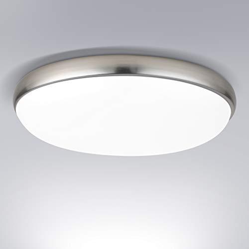 LED Deckenleuchte, OOWOLF LED Deckenleuchte rund 30cm 18W 1300lm 6000K kaltweiß, LED Deckenlampe rund für Bad Wohnzimmer Badezimmer Schlafzimmer Büro Flur Küche Balkon