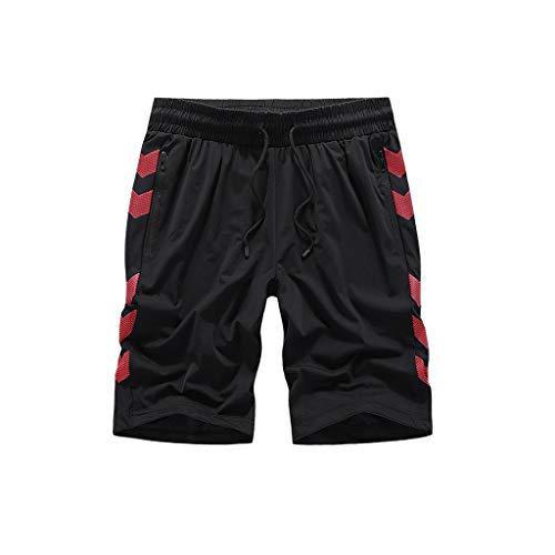 Preisvergleich Produktbild SAP- Sommer Herren Shorts Baumwolle Loose Large Size Herren Casual Five-Point Pants Wear Herren Shorts Atmungsaktiv,  Nylon + Spandex,  schwarz / rot,  XXXXXXXXL