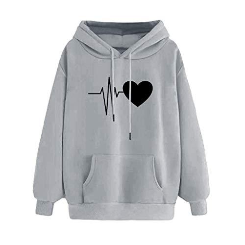 Sudaderas Mujer Tumblr Invierno Adolescentes Chicas Sudadera con Capucha y Bolsillo - Latido del Corazón Camiseta de Manga Larga 2019 Otoño