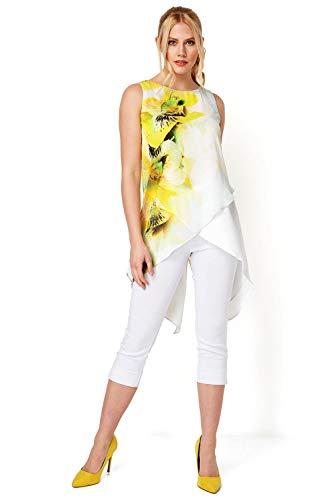 Roman Originals - Blusa asimétrica de gasa con estampado floral para mujer, informal, con dobladillo favorecedor para verano, vacaciones, noche, ocasiones especiales
