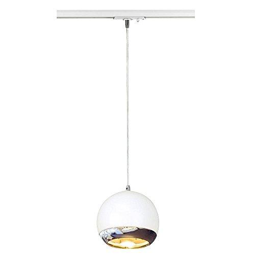 SLV Hängeleuchte LIGHT EYE 150 für 1-Phasen-Stromschiene   Dimmbare Deckenleuchte, Hängelampe, Pendelleuchte für Wohnzimmer, Bar, Esszimmer   Runde Decken-Lampe, Kugel-Design (GU10 ES111, EEK E-A++)