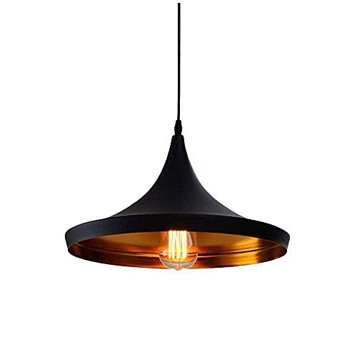 WGFGXQ -C E27 Retro Vintage Tonos de luz Colgante Lámpara de Techo Colgante contemporánea Iluminación de Techo de Metal Negro Lámpara de luz Accesorio C