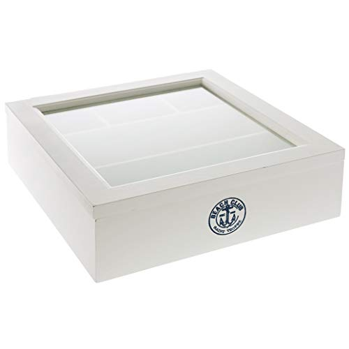 elbmöbel Kiste Holzkiste weiß Holz Schmuckkiste Deckel Box Holzbox 5 Fächer Glasdeckel Glas (H9 x B30 x T30w cm)