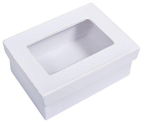 Rayher 67269102 Pappmaché-Geschenkbox, weiß, 10,5 x 7,7 x 4,4 cm, Deckel mit Sichtfenster, FSC zertifiziert, Dose, Schachtel, Deko-Karton