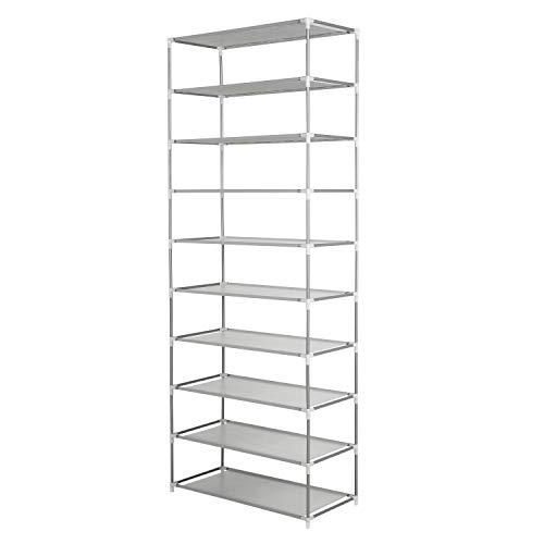シューズラック10段 / 2 x 5段 靴棚 30足靴収納可 軽量 収納 省スペース 玄関収納 組立簡単 (グレー)