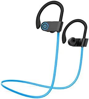 Bluetooth Headphones IPX7 Waterproof, Wireless Sport Earphones Bluetooth 4.1, HiFi Bass Stereo Sweatproof Earbuds w/Mic, Noise Cancelling Headset for Running,Workout, Gym (U8_Blue)