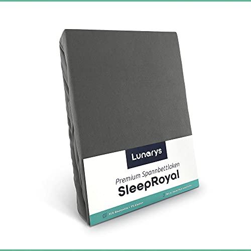 Lunarys® SleepRoyal Luxus Spannbettlaken 160x200 cm / schwere Qualität / 250 g/m² / 40 cm Steghöhe / für hohe Matratze, Boxspringbett & Wasserbett / hochwertiges blickdichtes Jersey-Spannbetttuch
