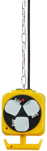 Brennenstuhl 2x 3-Way Hanging Workshop Power Distributor (5 m Cable, Double-Sided Socket, Extension Cord with 3 m Steel Hanging Chain)