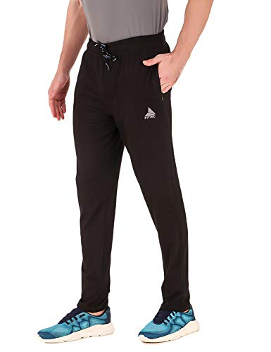 Fitinc Regular Fit Cotton Trackpant for Men with Zipper Pockets Black