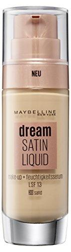 Maybelline Dream Satin Liquid Make-up Nr. 30 Sand, für einen natürlich strahlenden Teint mit zart schimmerndem Satin-Finish, mit Feuchtigkeitsserum und mattierendem Primer, 30 ml