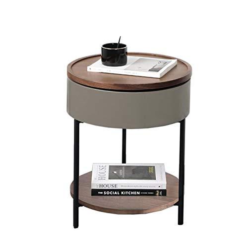 Jcnfa-Tische Wohnzimmer rotierender Beistelltisch, Sofa-Seitenschrank-Seitenschrank, Tablett Tischplatte, 360 ° rotierender Lagerung (Color : Gray Paint, Size : 18.11 * 18.11 * 22.04in)