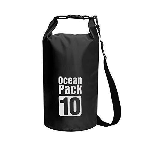byhui Floating Waterproof Dry Bag 10L Roll Top Dry Sack Keeps Gear Dry for Kayaking Rafting Boating Swimming Black