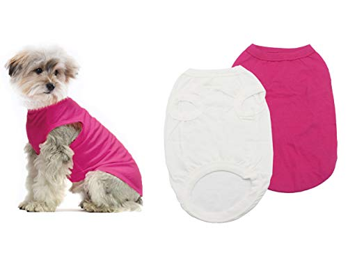 YAODHAOD Vestiti per Cani in Cotone T-Shirt per Cani in Tinta Unita Vestiti, Camicie in Cotone morbide e Traspiranti (XXL, Pink + Bianco)