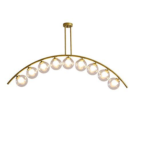 GLLSZ Kronleuchter 9-flammig Modern Sputnik Mid Century Hängelampe Gold Deckenleuchte Für Küche Esszimmer Wohnzimmer Bar-Transparente Abdeckung. 9-licht
