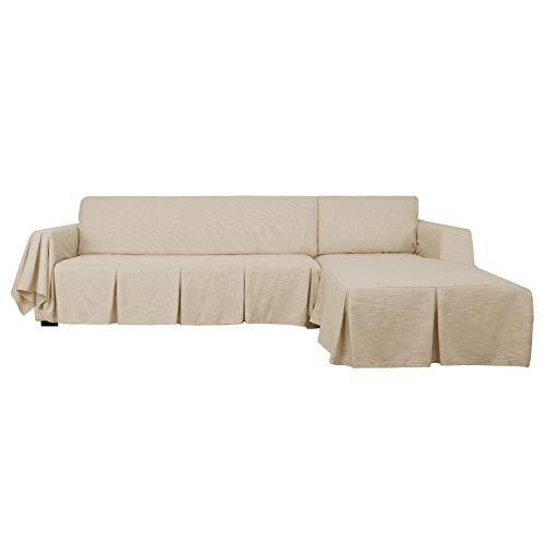 MAXIJIN Schnittsofabezug L-förmiger Sofabezug 2-teiliger Sofabezug aus 100% Polyester-Leinen mit Rüschenverdickter Hundeschutzhülle für das Wohnzimmer (3 SeatandLeftChaise, Brown)