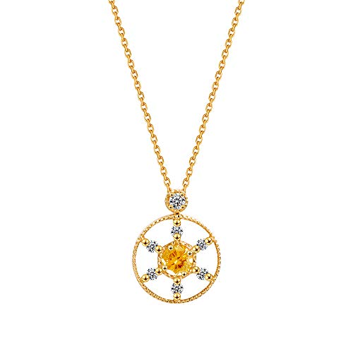 Carleen Solid Real18K yellow Gold 1/4 Carat Genuine Yellow Sapphire Circle Pendant Necklace with 0.116cttw Diamond, Fine Jewelry for Women Girls 18 inch Gold Chain