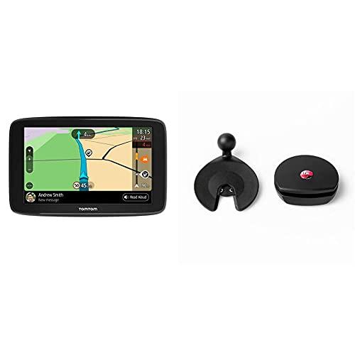 TomTom Navigationsgerät GO Basic (6 Zoll, Stauvermeidung Dank TomTom Traffic, Karten-Updates Europa, Updates über WiFi) & Armaturenbrett-Klebehalterung für alle TomTom GO Basic, Start, Via Modelle