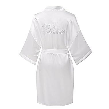 Women White Women's Short Satin Sleepwear Kimono Robe Bride Robe Knee Length Bathrobe (Medium, White)