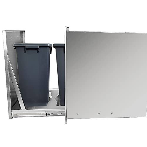 Karpevta Built-in Double Trash Drawer 20' W x 27' H x 24' D Recessed Handle Pull-Out Tray Stainless...
