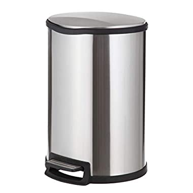 Home Zone VA41305A Step Semi-Round Stainless Steel Trash Can Bin (1 Pack), 12 gal/45L, Silver