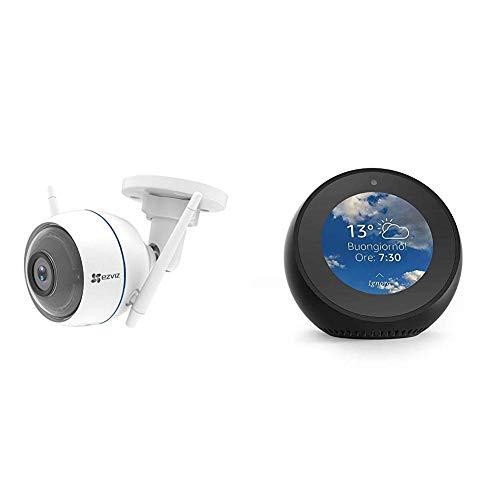 Echo Spot nero + EZVIZ ezTube 1080P Telecamera di Sicurezza con Night Vision, Difesa Attiva con Luce Stroboscopica e Sirena, Videocamera Esterna, Doppia Antenna Wi-Fi Estern, Audio a 2 Vie, Altoparlanti High-Db, IP66 Antipolvere e Impermeabile, Servizio di Cloud disponibile