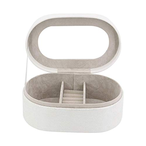 WANBAOAO Exquisito Caja de joyería Collar Pendiente Anillo Reloj Material de Almacenamiento Organizador Travel Synthetic Cuero Jewel Jewel Caja de Regalo para Mujeres, Caja de joyería Blanca