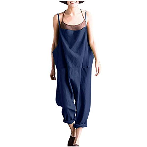 LIHAEI Jumpsuit Damen Sommer Lang Overall Sexy Ouvert Hose Elegant Breites Bein Hosenanzug Overalls Rompers Casual Latzhose Vintage Playsuit