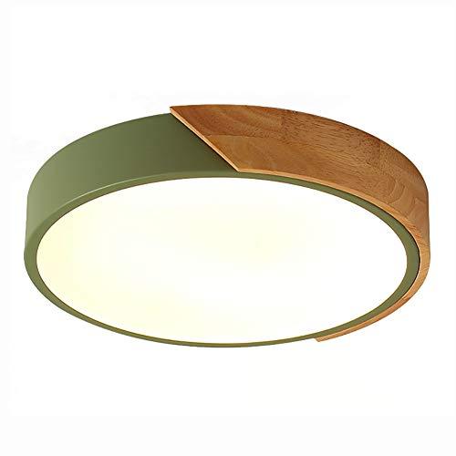 Plafoniera,Dimmerabile 20inch Moderno LED Rotondo Legno Sagomato Incasso Lampada Da Soffitto Con Telecomando Verde 30W,6500K Bianco Fresco-Luce Bianca Calda 30cm(12inch)