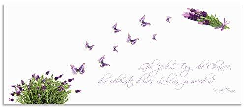 Artland Spritzschutz Küche aus Alu für Herd Spüle 120x50 cm Küchenrückwand mit Motiv Spruch Schmetterlinge Lavendel Landhaus Hell Weiß Lila J6DH