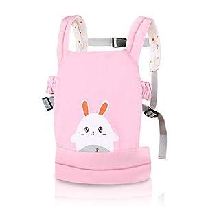 Nabance Portabebés de algodón Bolsa de muñecas multifunción ajustable Portabebés Sling Muñeca conejo rosa transpirable…