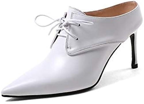 ZHZNVX zapatos de mujer Nappa Leather Spring & Fall Basic Pump Talones Tacón de Aguja Punta Estrecha blanco negro