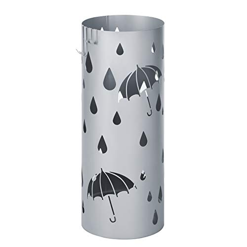 SONGMICS Metal Umbrella Holder, Round Umbrella Stand Rack, with Drip Tray and Hooks, 7.7 x 7.7 x 19.3 Inches, Silver Gray ULUC23S