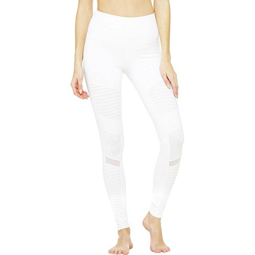 Alo Yoga Women's High Waist Moto Legging, White/White Glossy, Small