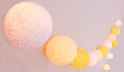 CREATIEFECOTTON LED - Lichtketting Sunny Mood met 35 katoenen bollen - Cotton Ball Lights, binnen